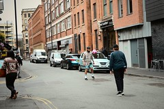 Football is back in town. (Snipsnapper) Tags: football urban playingfootball city citycentre mancmade ilovemcr streetphotography cityliving manchester nq1 northernquarter
