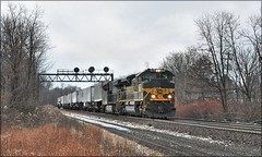 22W at Derry (Images by A.J.) Tags: train railroad railway transportation rail freight cargo winter autumn derry position light signal intermodal piggyback trailer norfolk southern pittsburgh pennsylvania laurel highlands heritage erie emd sd70ace