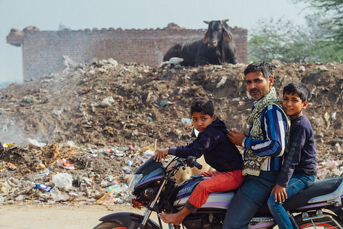 Family on Motorbkie by Village Landfill, Mathura India
