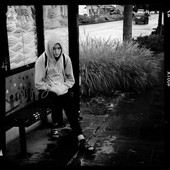 shelter (Chris Blakeley) Tags: seattle hipstamatic candid streetphotography busstop busshelter bnw