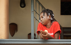 Independence Day_girl at balcony (abtabt) Tags: trinidadandtobago tt pos portofspain independence independenceday street people parade march d70028300 balcony girl red caribbean holiday