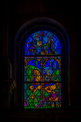 Some beautiful stained glass in a church in Venice Italy.