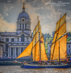 Golden Sails (brian.m.denton) Tags: greenwich royalnavalcollege lugger tectona sails london england riverthames clock weathervane dome briandenton timecapturer wwwtimecapturercom sonya850dslr