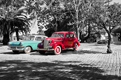 Colonia del Sacramento, Uruguay (Phil Spalding) Tags: colour color blue red black white blackandwhite bw blackwhite conversion colourpop colourpopping old cars oldcars uruguay coloniadelsacramento colonia sacramento classic classiccars classiccar