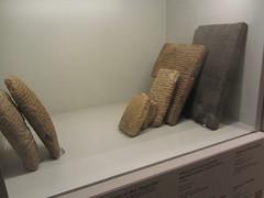 Cuneiform Clay  tablets, Present day Iraq,  CaixaForum, Madrid, June 2018 (d.kevan) Tags: exhibitions caixaforum ancientinstruments displaycabinets june2018 madrid spain exhibits claytablets cuneiformscript iraq mesopotamia