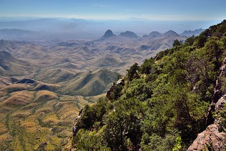 Using a Mountainside a a Frame for Peaks of the Chisos Mountains (Big Bend National Park)