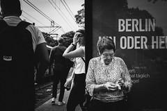 Secret Look (Zesk MF) Tags: bw black white zesk cologne street people looking elderly smoking haltestelle mono strase urban