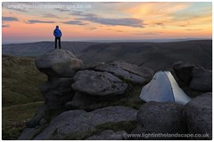 Master of all he surveys..... (Hadrian Frankland) Tags: pdnpa mirrorless canonm6 dcf cubesfibre phreeranger trekkertent sunset gritstone rocks tent nationaltrail peakdistrict kinderscout edale pennineway