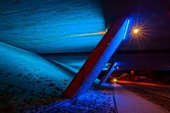 Blue light (Steenjep) Tags: herning jylland jutland danmark denmark bro bridge vej road street motorvej motorway lys light blue blå concrete construction hdr