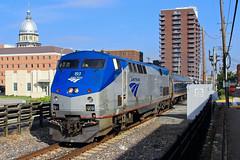 Amtrak 301 passing the Capitol (HighHor$epower) Tags: amtk193 amtrak301 cookstreet p42dc lincolnservice illinoisstatecapitol springfield unionpacific springfieldsubdivision