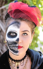 Mortality (wyojones) Tags: texas texasrenaissancefestival toddmission texasrenfest renfest renfaire renaissancefaire faire renaissancefestival festival trf halloween diadelosmeautos skeleton scary bones allhallowseve halfdead maidem beauty woman girl hat brunette lipstick makeup beautiful