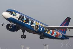 Airbus A320-214 – Brussels Airlines – OO-SND – Brussels Airport (BRU EBBR) – 2018 11 03 – Takeoff RWY 19 – 01 – Copyright © 2018 Ivan Coninx (Ivan Coninx Photography) Tags: ivanconinx ivanconinxphotography photography aviationphotography brusselsairport bru ebbr airbus airbusa320 airbusa320214 a320 a320214 brusselsairlines oosnd aviation aerosmurf snsmurfs smurfs