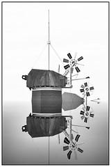 Greetsiel, Germany, two windmills (abstract) (unukorno) Tags: greetsiel deutschland windmills zwillingsmühlen windmühlen bw frame sw monochrome blackwhite surreal abstrakt experiment