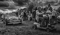 The Slow and the Sublime Yukay Drift (p.g604) Tags: 20180915imgp1333editedit a typical classic car show scene england ii slow sublime uk drift diamler grass common beer drinking clouds overcast hertfordshire cars mobility scooter oap yukay