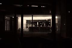 The nighthawks are gone... (iamunclefester) Tags: münchen munich blackandwhite monochrome street night dark nighthawks restaurant bar gone waiter windowpane windows lights lamps reflexion toned