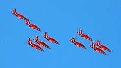 2018 Guernsey Air Display: Red Arrows (cv880m) Tags: guernsey channelislands bordeaux redarrows hawk raf royalairforce 2018 guernseyairdisplay aviation aircraft airplane fighter trainer jet aerobatic centenary 100years
