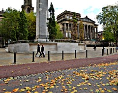 Autumn leaves in Preston (Tony Worrall) Tags: preston prestonian architecture buildings autumn fall season seasonal weather place area city cenotaph harrismuseum harris centre urban street leaf leaves buy sell sale for image stock photography photos photosofpreston lancashire english north west northern northwestern uk gb british visit tour people walking walk way pathway path memorial