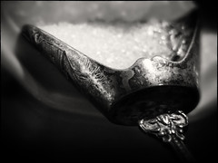 SUGAR FOR MY SWEET.. (Ageeth van Geest) Tags: sweet monochrome blackandwhite bw spoon sugar sugarspoon oldsilverspoon measurement macromondays