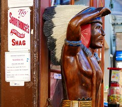 Cigar store Indian (Mr Ian Lamb 2) Tags: nativeamerican americanindian mannequin tobacco tobacconist advert advertisement cigars shop smoking indian woodenindian cigarette carving art wood figure chief warrior sign notice