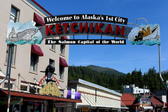 Salmon Capital of The World (Anthony Mark Images) Tags: bluesky mountains forest trees hills downtown ketchikan sign salmoncapitaloftheworld orcacorn salmonmarket salmon boat fisherman alaska usa 49thstate nikon d850 sundaylights