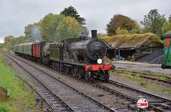 London & South Western Railway Locomotive, a Drummond T9 of 1899 as No.120, now No.30120 approaches Corfe Castle  with a mixed working from Swanage. Autumn Steam Gala. 15 10 2018 (pnb511) Tags: swanagerailway train rails railway loco locomotive engine steam track trees signal