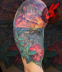 Tropical beach sunset palm trees plumeria hibiscu flower best color ocean waves Sleeve real realistic tattoo by jackie rabbit