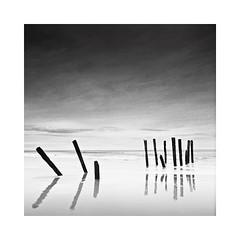 St. Clair Beach, New Zealand (Christian Seifert) Tags: st clair beach dunedin new zealand reflection poles pentacon six tl flektogon 50mm wide angle sky ocean medium format film iso100 long exposure analogue carl zeiss