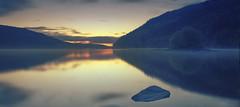Sunrise Reflections (seantindale) Tags: wales uk travel explore olympus omdem5markii sunrise early reflection lake tree island longexposure 6stopfilter mist