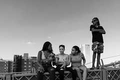 suspended discussion (hydRometra) Tags: usa tempolibero manhattan people streetphotography cityscape persone brooklynbridge urbanscape città girls leisure bn ragazze outdoor city bw newyork
