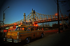 Queens NYC cab (Harry Szpilmann) Tags: newyork yellow cab queens vintage taxi urban architecture nyc streetphotography