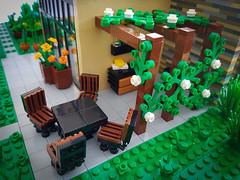 Lilium Eco House MOC. Pergola and patio. (betweenbrickwalls) Tags: lego afol moc legomoc legos furniture furnituredesign garden pergola outdoorkitchen design toys house home legohouse modernhome modernliving architecture