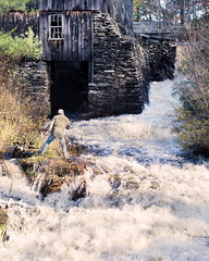 White Water (and a Dam Photographer) (Chancy Rendezvous) Tags: chancyrendezvous davelawler blurgasm mill stream dam water rapids rushing white paxton massachusetts moorestatepark park photographer millstream whitewater river waterfall lawler