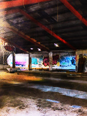 In an Abandoned State (Steve Taylor (Photography)) Tags: digitalart graffiti streetart red blue white brown roof column support newzealand nz southisland canterbury christchurch newbrighton texture vigenette warehouse rafters