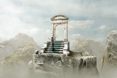 complaining (Mattijn) Tags: gate rock stairs cat ginger surreal photomontage