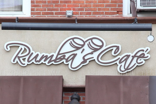 Rumba's Cafe with conga-drum-extended lettering, Jersey City