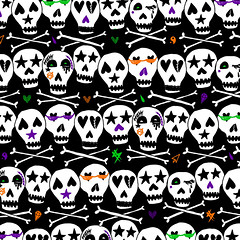 Skull & Crossbones Pattern (leannaperry) Tags: leannaperry skull crossbones pattern repeat design graphic art illustration artist drawing skeletons halloween haunted spooky stars goth gothic emo scene myspace abbeydawn