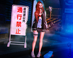 Larger Than Life (elocuenciaresident) Tags: hair besom~ juicy collabor88 skirt mbirdie mimi look epiphany corset top pseudo minthe bra black jacket gbstadium gkkj light sword neojapan gift leg bandagekatat0nik mummy shoes bleich warning white tmd skate milk motion skateboard blue rat tentacio {psychobyts} mosterize dinner brows ink female eyebrows 04 05 06 lipstick se catwa aika lipglossy vers05 backdrop taikou gaien market sign japanese street signboards
