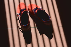My Asics Shoes (briandodotseng59) Tags: asia taiwan color coth5 orange black white red sun day light shadow shoes street streetphoto corner sunset nikkor nikon d810 frame 35mm people 台灣 asics nikonflickraward