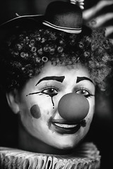 Put On Your Clown Face (Thomas Hawk) Tags: america bayarea california haight haightdistrict haightstreet lowerhaight photowalk sf sfbayarea sanfrancisco us usa unitedstates unitedstatesofamerica westcoast bw clown sfflickrmeetup fav10