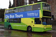 Green bus, wet setting (27th October 2018) (paulburr73) Tags: greenbus 109 y32hwb raining rainy wetweather october 2018 cathedral coventry bus coventryuniversity tour dennistrident alexander alx400 ta32 9732 connex travellondon abelliolondon