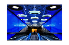 'Blue'tiful way down to the station (Sylvia Kahler) Tags: amsterdam flughafen schiphol rolltreppe bahnhof explored2