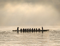 Rowing Crew (adrians_art) Tags: sport rowing silhouetteshadow canoe kayak rays mistfog riverthames reflections people skyclouds