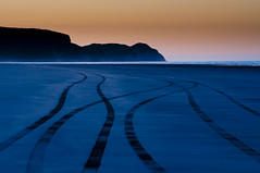 Tyre traces (paolo_barbarini) Tags: landscape tyre traces sunset colors newzealand sand golden coast travel nature