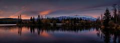 (patrickgkelly) Tags: lake reflection morning sunrise autumn fall trees victorlake alberta panorama mountain