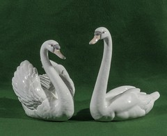 "Two Lladro swans (newpeter) Tags: antique collectables vase silver gold ceramics enamel cinnabar clock clocks watch watches jade ivory glass worcester terracotta bronze buddha ""parian ware"" ""arts crafts"" paintings oriental japanese chinese lladro porcelain"