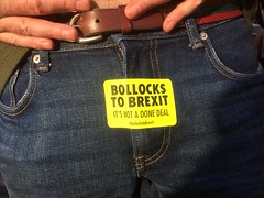 Bollocks to Brexit, literally. (maggie jones.) Tags: brexit peoplesvotemarch eu london ball jeans man fly zip