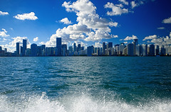 Miami Skyline (` Toshio ') Tags: toshio miami florida biscaynebay bay water skyline city cityscape clouds usa america waves fujixt2 xt2 skyscraper building architecture