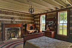 Will Rogers' Bedroom (brev99) Tags: ononesoftware on1photoraw2018 hdrefexpro hdr willrogersranch interior cameracorrectionfilter bed wood windows fireplace rug nikviveza dxofilmpack5 d610 sigma2414