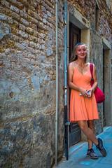 Stephanie exploring Venice's narrow streets.