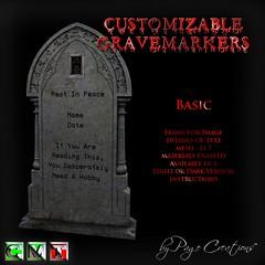 ღ ♡  Gravemarkers - Basic Lt by Page Creations™ ♡ ღ (Raven Page) Tags: halloween props decor mesh spooky scary fog pumpkins gothic goth